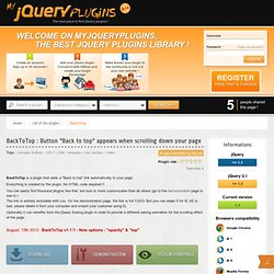 "BackToTop jquery plugin - Button ""Back to top"" appears when scrolling down your page : MyjQueryPlugins"