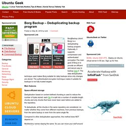 Borg Backup – Deduplicating backup program