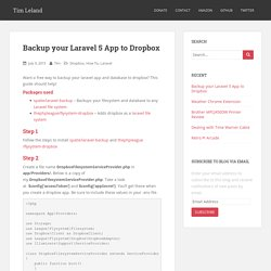 Backup your Laravel 5 App to Dropbox