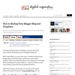 Backup Your Blogger Blog in a Click