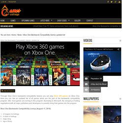 Xbox One Backwards Compatibility Games updated list