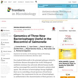 FRONTIERS IN MICROBIOLOGY 20/04/16 Genomics of Three New Bacteriophages Useful in the Biocontrol of Salmonella