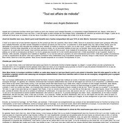 Angelo Badalamenti The Straight Story Cahiers du Cinéma