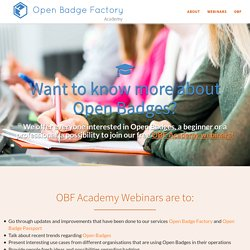 Join our free Open Badge Factory Academy webinars!