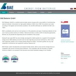 BAE Batterien GmbH - Berlin - Home