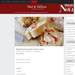 Baguette farcie au poulet et poivron rouge