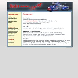 Baier Motor Racing · Bad Aibling · Impressum