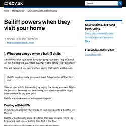 Bailiffs and debt collectors : Directgov - Money, tax and benefits