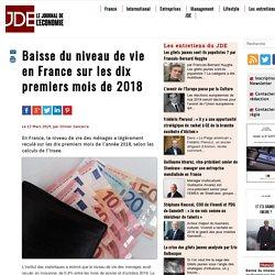 Baisse du niveau de vie en France sur les dix premiers mois de 2018