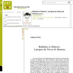 Bakhtine et Diderot : à propos du Neveu de Rameau