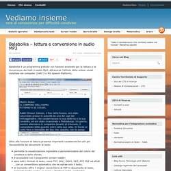Balabolka - lettura e conversione in audio MP3