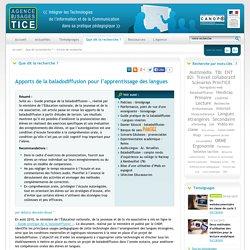 L'Agence nationale des Usages des TICE - Apports de la baladodiffusion pour l'apprentissage des langues