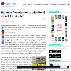 Balance five elements with Reiki - Part 3 of 5 – Air