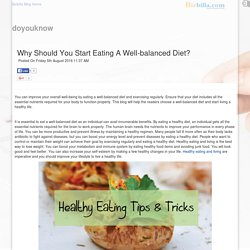 Why Should You Start Eating A Well-balanced Diet posted by Robert Vaughan at Bizbilla Blog
