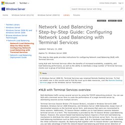 Network Load Balancing Step-by-Step Guide: Configuring Network Load Balancing with Terminal Services