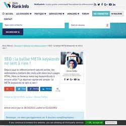 Balise Meta Keywords, Google et le référencement (SEO)