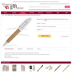 Bamboo and brass barrel ballpoint pen with matte silver cap and clip. Manufacturers #574844557