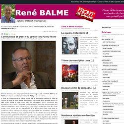 René Balme - Communiqué de presse du comité 4 du PG du Rhône