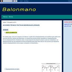 Balonmano: ACCIONES TÉCNICO-TÁCTICAS INDIVIDUALES (ATAQUE)