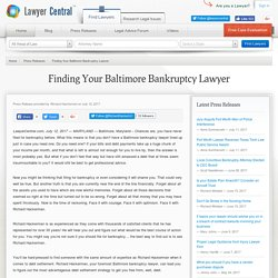 Finding Your Baltimore Bankruptcy Lawyer