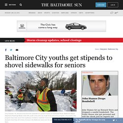 Baltimore City youth get stipends to shovel sidewalks for seniors