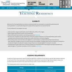 Baltimore City Teaching Residency