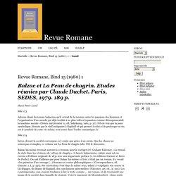 Balzac et La Peau de chagrin. Etudes réunies par Claude Duchet. Paris, SEDES, 1979. 189 p.