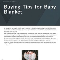 Buying Tips for Baby Blanket