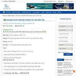 Cần Bán Lô Đất SIÊU ĐẸP, Đường Tây Lân, Bình Tân - Nhà Đất VIP Mua bán nhà đất chuyển nhượng