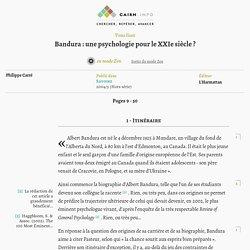 Bandura: une psychologie pour le XXIe siècle?