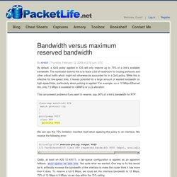 Bandwidth versus maximum reserved bandwidth