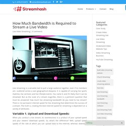 How Much Bandwidth is Required to Stream a Live Video - StreamHash