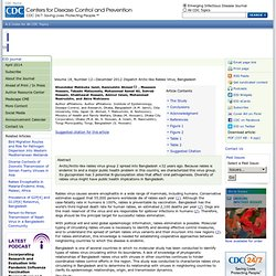 CDC EID – DEC 2012 – Au sommaire:Arctic-like Rabies Virus, Bangladesh