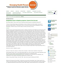 EMERGING HEALTH THREATS JOURNAL - 2012 - Bangladesh arsenic mitigation programs: lessons from the past