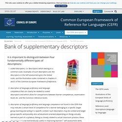 Bank of supplementary descriptors