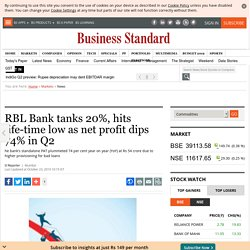 RBL Bank tanks 20%, hits life-time low as net profit dips 74% in Q2