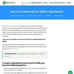 Fix Banking Error 9999 in QuickBooks (Step by Step Guide)