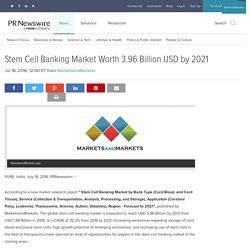 Stem Cell Banking Market Worth 3.96 Billion USD by 2021
