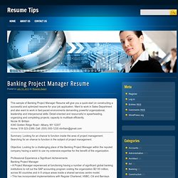 project manager resume this sample of banking project manager resume