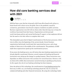 How did core banking services deal with 2021 - Lisa's Newsletter