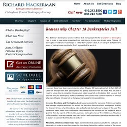 Baltimore Bankruptcy Lawyer: Reasons Ch.13 Bankruptcies Fail