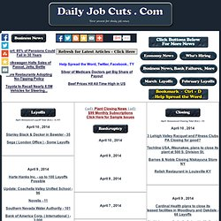 Daily Job Cuts - Layoff News , Job Layoffs 2011 / 2010 , Bankruptcy, Store closings, Business Economy News