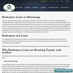 Bankruptcy Loans In Mississauga