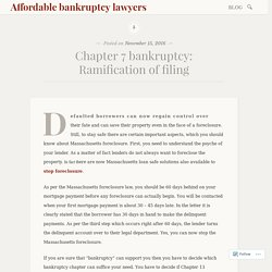 Chapter 7 bankruptcy: Ramification of filing – Affordable bankruptcy lawyers