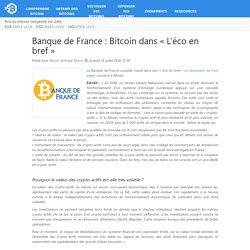 Banque de France : Bitcoin dans «L'éco en bref»