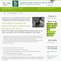 Une banque ouverte de sujets ECE pour familiariser les élèves de 1ère S - Sciences de la Vie et de la Terre