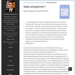 Jean-Baptiste Jeangène Vilmer - Sade antispéciste?