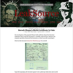 Barack Obama's Birth Certificate Is Fake « LeakSource - Waterfox