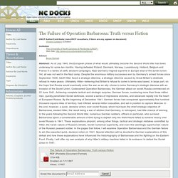 The Failure of Operation Barbarossa: Truth versus Fiction, NC DOCKS (North Carolina Digital Online Collection of Knowledge and Scholarship)