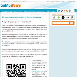 2D barcodes suffer from lack of decent generatorsGoMo News